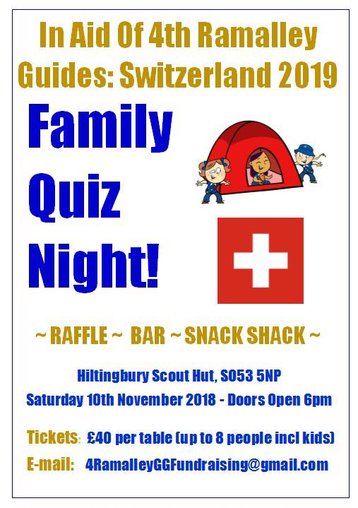 4th Ramalley Guides Family Quiz Night