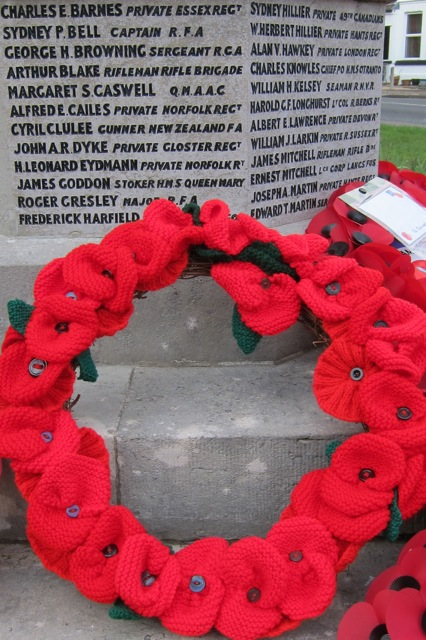 Beautiful knitted wreath at the Chandler's Ford War Memorial. Remembrance Sunday, 2014.