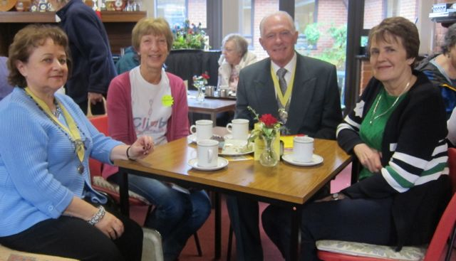 Deputy Mayor Eastleigh Councillor Des Scott, Deputy Mayoress Mrs Ve Scott (left), Caroline Husain (2nd from left), and Val Milner (right), at 42nd Joint Charities Christmas Market, Chandler's Ford.