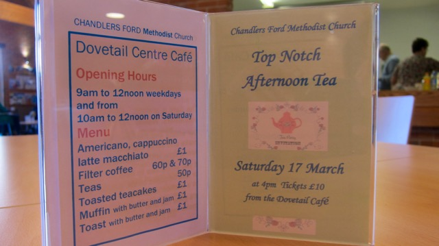 Dovetail Centre Café: Chandler's Ford Methodist Church Top Notch afternoon tea - Saturday 17th March 2018