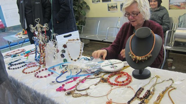 Gill Connell and her jewellery display