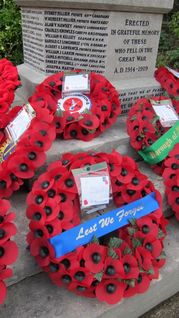 """Lest We Forget"" - from Chandler's Ford Parish Council. Remembrance Sunday 9 Nov 2014, at Chandler's Ford War Memorial."