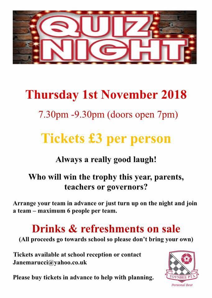 Toynbee School Quiz Night - 1st November