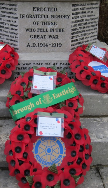 """To live in hearts we leave behind is not to die."" Wreath from Borough of Eastleigh. Remembrance Sunday 9 Nov 2014, at Chandler's Ford War Memorial."