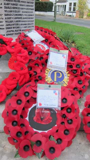 Wreaths at Chandler's Ford War Memorial, at St. Boniface Church, Hursley Road. Remembrance Sunday 9 Nov 2014, at Chandler's Ford War Memorial.