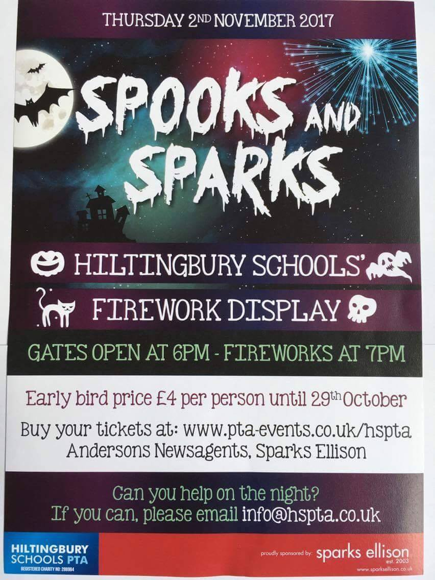 Spooks and Sparks Firework Display: Thursday 2nd November