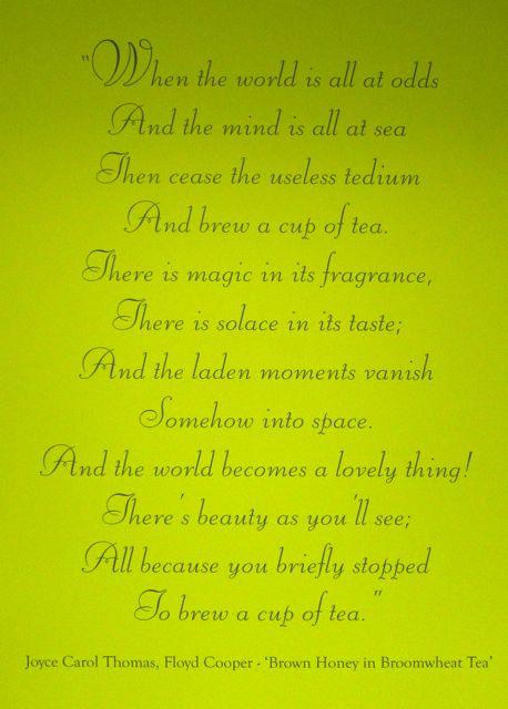Ahmad Tea poem on the wall