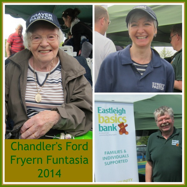 Chandler's Ford Fryern Funtasia 2014. Joy (left), Jane (Street Pastor) and Dave Keating, manager of Eastleigh Basics Bank.