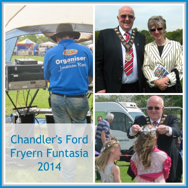 Chandler's Ford Fryern Funtasia 2014. (Top right): Mayor of Eastleigh Councillor Malcolm Cross with Margaret Atkinson, Chairman of Chandler's Ford Parish Council. 5th May 2014, Chandler's Ford.