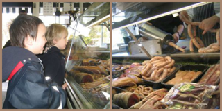 Kids visiting Hursley butcher