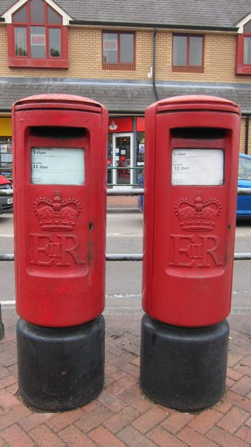 Two identical post boxes at Fryern Arcade. Why?