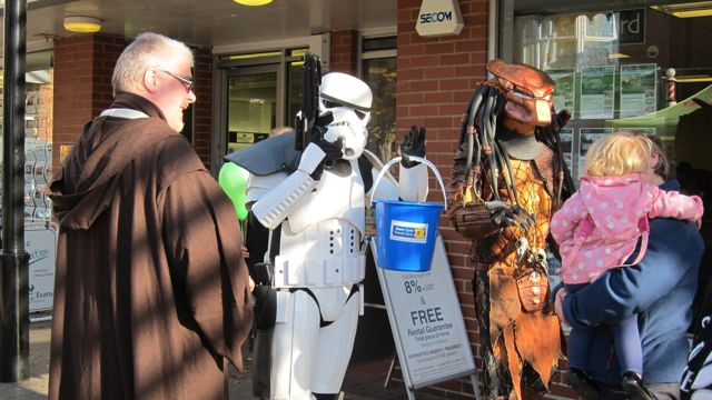 In Eastleigh today: Obi-Wan Kenobi and  Stormtrooper from Star Wars, and Predator.