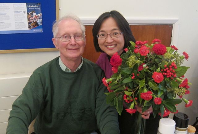 I was the lucky winner of the beautiful flowers arranged by Alan.