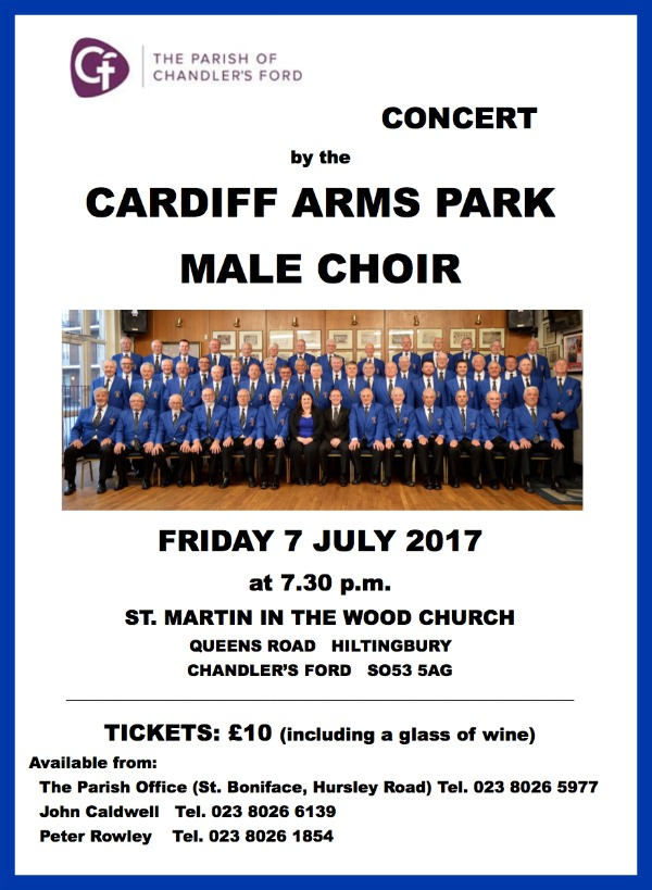 Cardiff arms park male choir in Chandler's Ford 2017