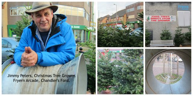 Jimmy Peters sell Christmas trees at Fryern Arcade.