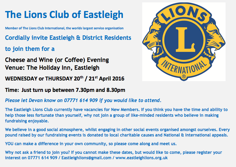 Eastleigh Lions Club of Eastleigh event April 2016