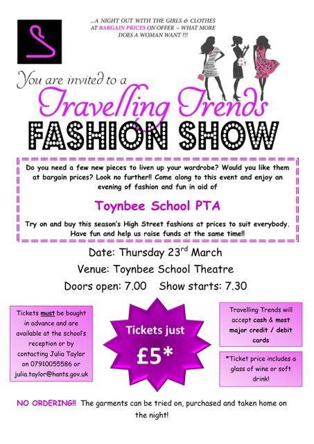 Toynbee School PTA - Travelling Trends Fashion Show Thursday 23rd March 2017