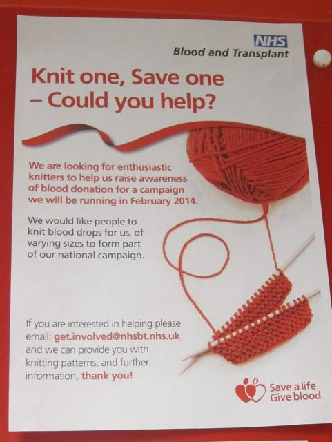 Give Blood- Knit one Save one