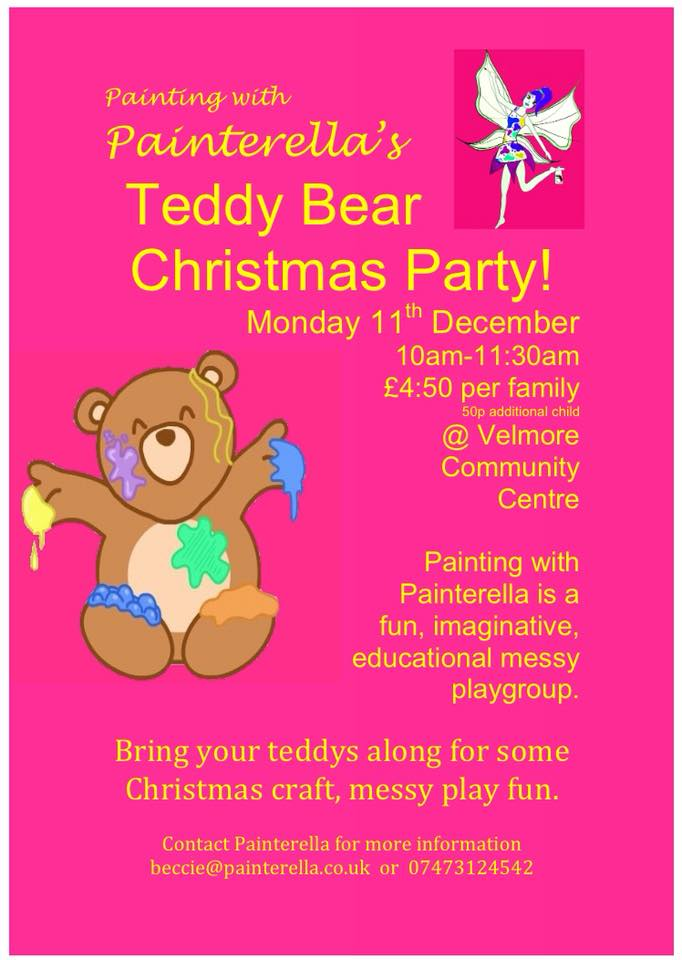 Painterella's teddy bear Christmas party at Velmore Centre