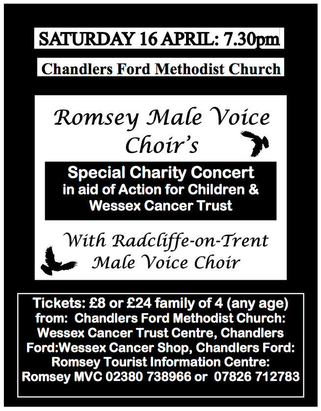 Romsey Male Voice Choir concert April 2016 Chandler's Ford Methodist Church