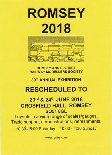 Romsey and District Railway Modellers Society 39th annual exhibition on Saturday 23rd June and Sunday 24th June at Crosfield Hall Romsey SO51 8GL