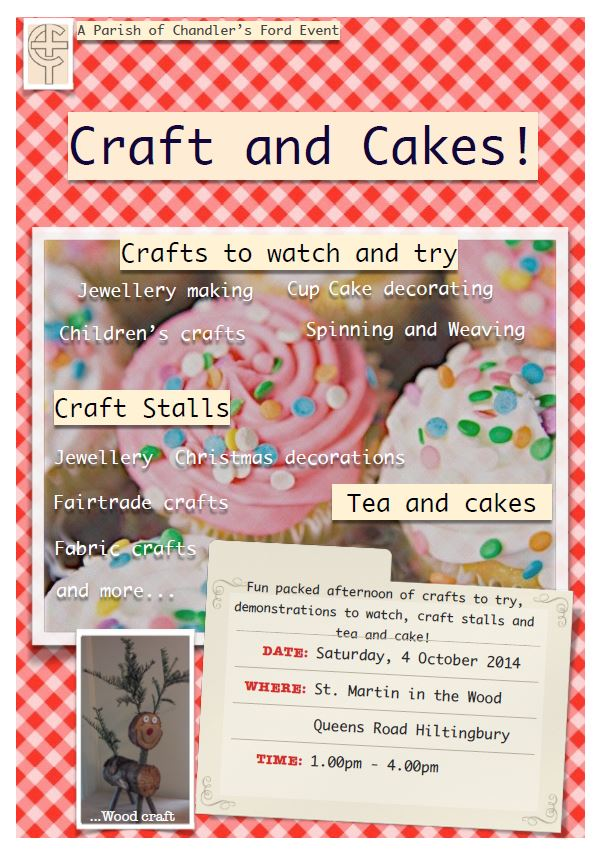 Craft and Cakes at St. Martin in the Wood church.