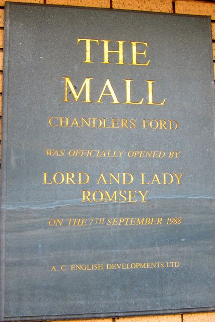 The Mall plaque in Chandler's Ford.