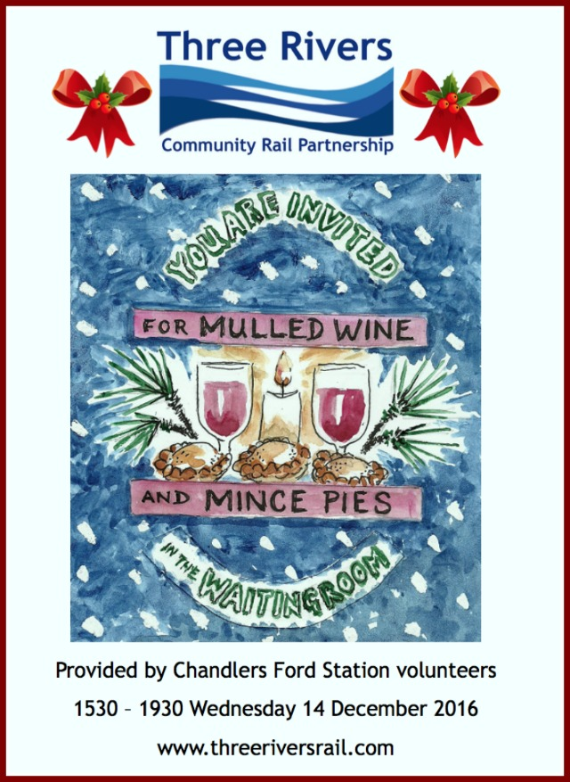 Three Rivers Christmas get together at Chandler's Ford station Wednesday 14th December 2016.