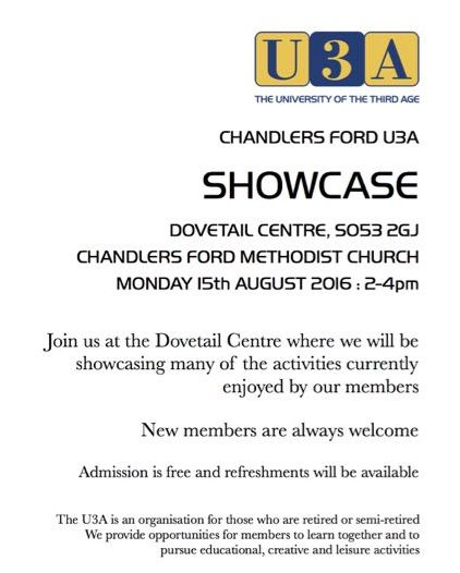 U3A showcase poster 2016 Chandler's Ford