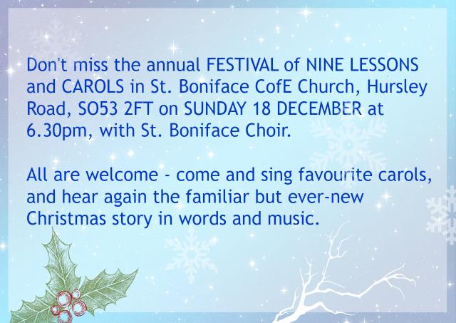 Festival of nine lessons and carols at St. Boniface church Dec 2016