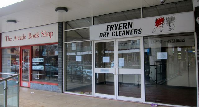 The old Arcade Book Shop and Dry Cleaners in Chandler's Ford.