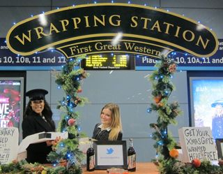 The Wrapping Station at Reading station last Christmas, by First Great Western Trains.