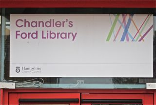 Sign of the Chandler's Ford Library.