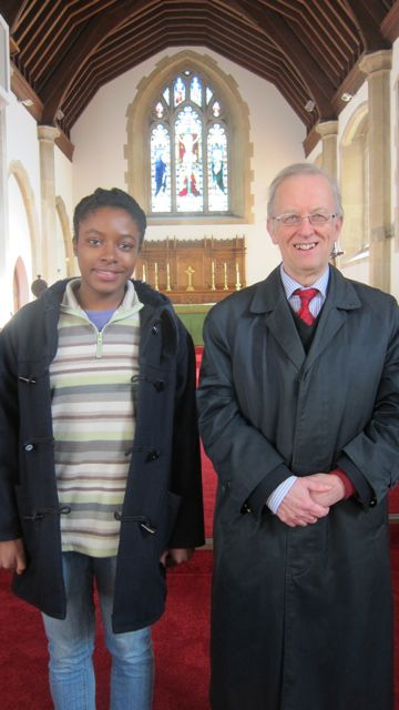 Dr. Hugh Benham with Sarah Akponasa, parish organ scholar, at St. Boniface church.