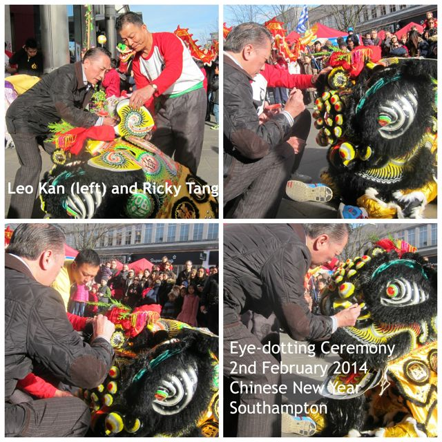 Eye-dotting ceremony in Southampton today. Leo Kan (left) conducted the ceremony. Ricky Tang said the blessings.