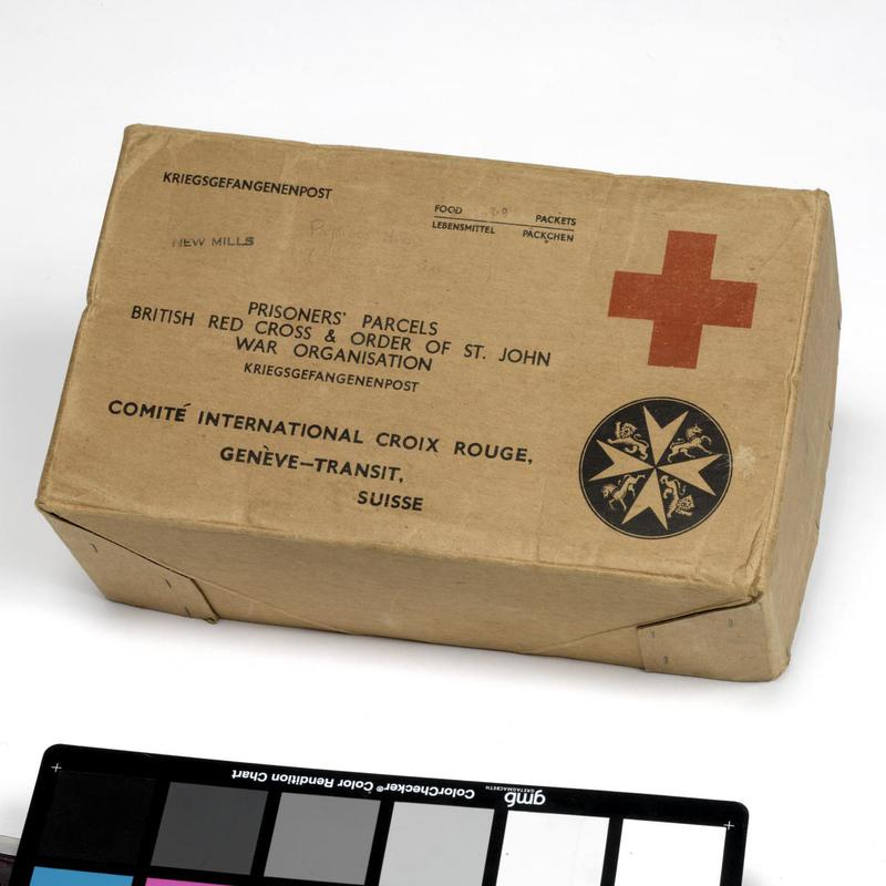 It is a Red Cross parcel box intended for Allied prisoners of war during the Second World War. Each prisoner was supposed to receive one parcel every week.  © IWM (EPH 88)