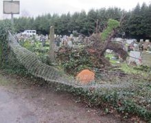 Ramalley Cemetery: Entrance Cleared; Free Logs
