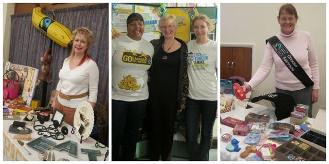 Left: Heather Dibb selling Created (Tearfund) gifts. Middle: Dorothy Agard, banana grower from St Lucia  with event organiser Tricia Urquhart and Georgia Hall, Campaigns team at the Fairtrade Foundation. Right: Hazel Bateman, Fairtrade supporter in Chandler's Ford.