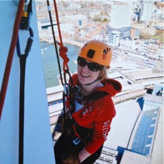 Laura Dyer abseiling for Stroke Association