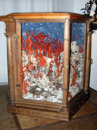 Schloss Ambras, Innsbruck, Austria - from the castle's collection of art and curiosities. Crucifixion made of coral and other materials.