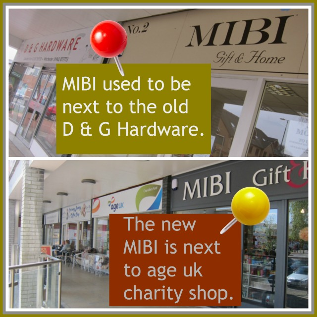 MIBI gift shop in Fryern Arcade - before and after the move.