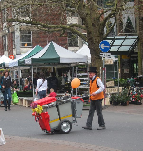 Terry and his charming barrow - making Winchester city clean.