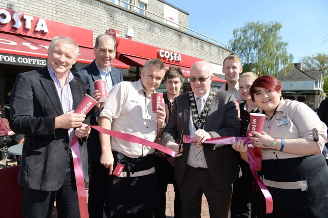 Mayor of Eastleigh Councillor Malcolm Cross (centre) officially opens Costa Coffee at Fryern Arcade, Chandlers Ford with Premier Coffee's  Robin Arkle and Andy Hirst, store manager Sebastian Szczypior, Pierce Fouch, Matt Coulthard, Pilvi Musgrave and Alicia Bialous.