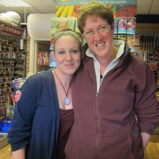 Helenor (right) and Rachel at D & G Hardware store in Chandler's Ford.