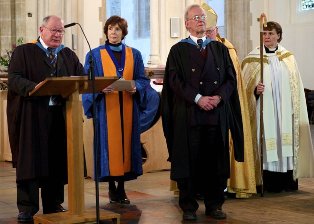 (From left to right): John Ewington OBE (General Secretary Emeritus of the Guild); Dame Mary Archer, President of the Guild; Hugh Benham; Bishop David Thomson; and bishop's chaplain.