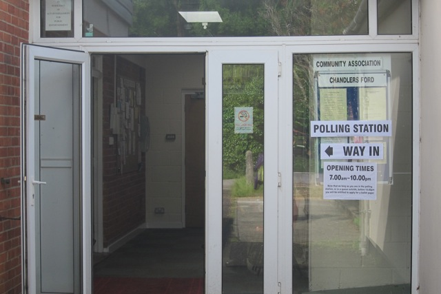 Polling Station, Hursley Road. No identity checks required.