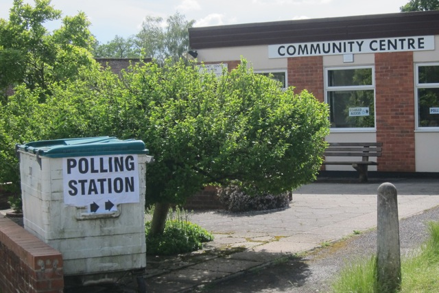 Polling Station at Community Centre, Chandler's Ford. This large bin is very useful.