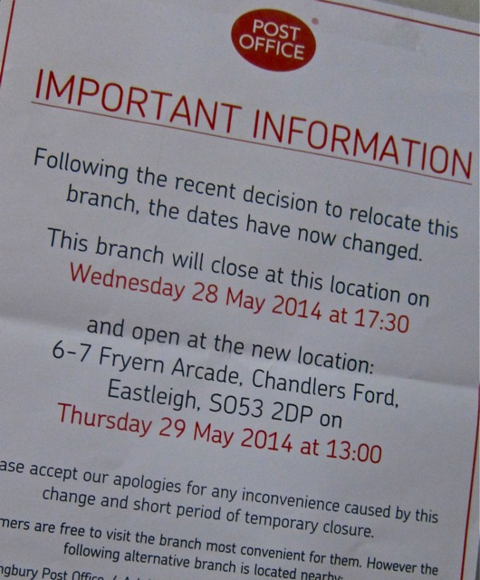 Fryern Arcade Post Office's old notice: moving on 28th May 2014.