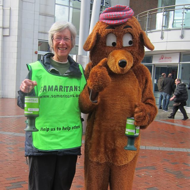 Samaritans fundraisers in Reading. 10th May 2014. John Hay (bear) and Wendy Hawkins.