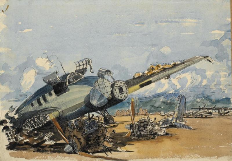 Kiirung Airfield, Formosa : 7th September 1945, with a wrecked Japanese fighter on the air-strip.
